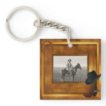 Western Theme with Boot & Hat Photo Template Keychain