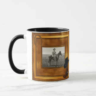 Western Theme with Boot & Hat Photo Template Mug