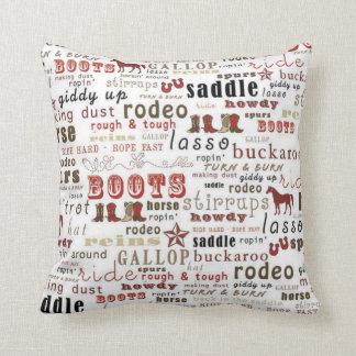 Western Theme Word Art Print MoJo Throw Pillow