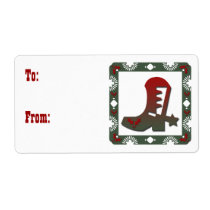 Western Themed Cowboy Boot Christmas Label