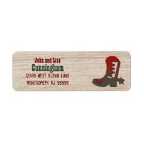 Western Themed Red and Green Holiday Cowboy Boot Label