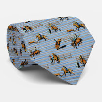 Western Tie With Rodeo Events Cowboys Cowgirls