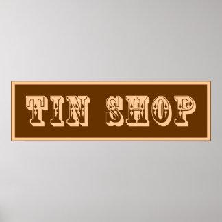 Western Tin Shop Sign Poster