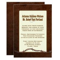 Western Tooled Leather Custom Wedding Invitation