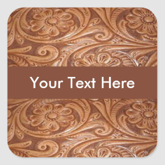 Western Tooled Leather Customizable Square Sticker