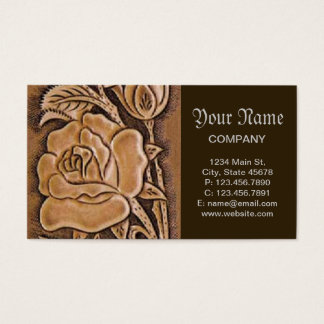 Western tooled leather  Floral Pattern Business Card
