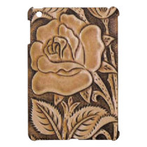 Western tooled leather  Floral Pattern Cover For The iPad Mini