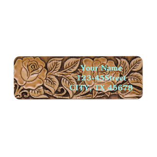 Western tooled leather  Floral Pattern Label