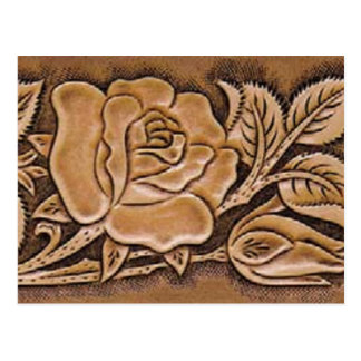Western tooled leather Floral Pattern Postcard