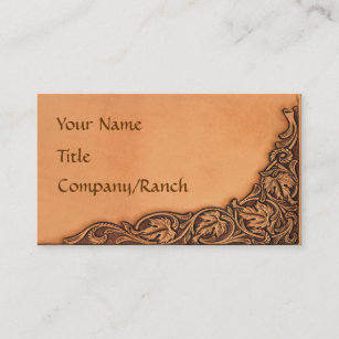Western business cards templates zazzle western tooled leather look business card colourmoves