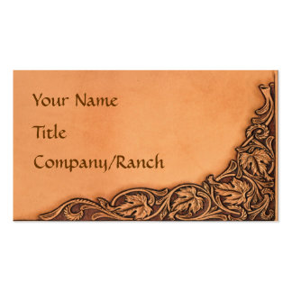 Western Tooled Leather Look Business Card Template