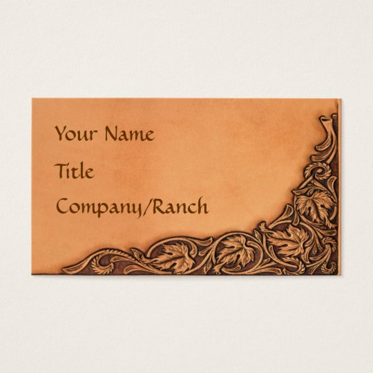 Western Tooled Leather Look Business Card