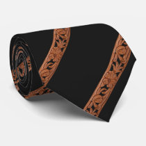 Western Tooled Leather Print Neck Tie