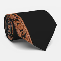 Western Tooled Leather Print On Black Tie
