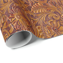 Western Tooled Leather Print Wrapping Paper