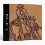 Western tooled leather Riding Cowboy 3 Ring Binders