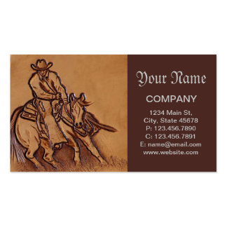 Western tooled leather Riding Cowboy Double-Sided Standard Business Cards (Pack Of 100)
