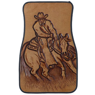 Western tooled leather Riding Cowboy Car Mat