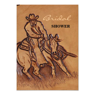 Western tooled leather Riding Cowboy Card