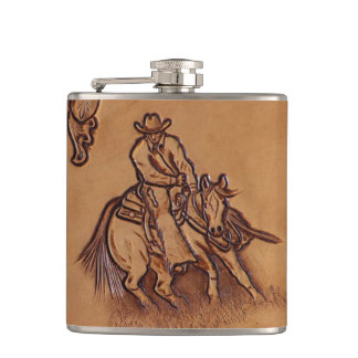 Western tooled leather Riding Cowboy Hip Flask