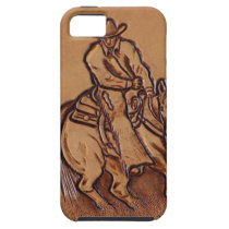 Western tooled leather Riding Cowboy iPhone SE/5/5s Case