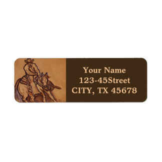 Western tooled leather Riding Cowboy Custom Return Address Labels