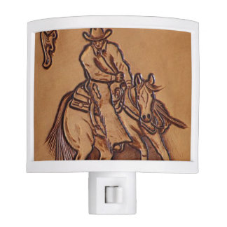 Western tooled leather Riding Cowboy Night Light