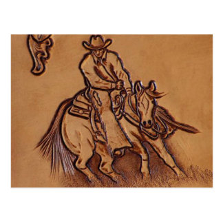 Western tooled leather Riding Cowboy Postcard