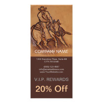 Western tooled leather Riding Cowboy Rack Card