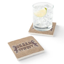 Western tooled leather Urban Cowboy Stone Coaster