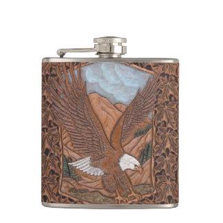 Western tooled leather Vintage Eagle Hip Flask