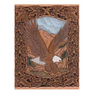 Western tooled leather Vintage Eagle Postcard