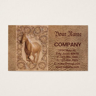 Western tooled leather Vintage horse Business Card