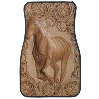 Western tooled leather Vintage horse Car Floor Mat