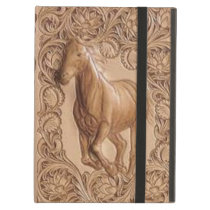 Western tooled leather Vintage horse Case For iPad Air