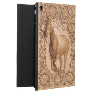Western tooled leather Vintage horse iPad Air Case