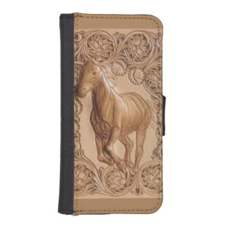 Western tooled leather Vintage horse Phone Wallet Cases