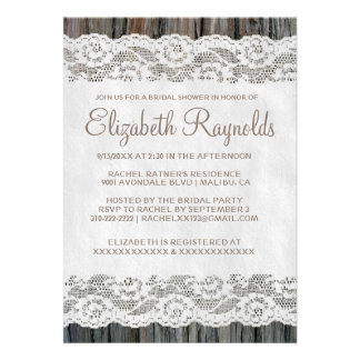 Western Tree Bark Bridal Shower Invitations Card