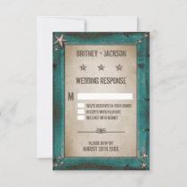 Western Turquoise Barn Wood Wedding RSVP Cards