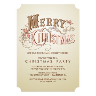 Western Typography Holiday Party Invitation