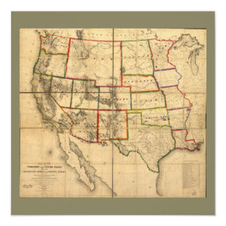 Western United States Territory Map (1858) Card