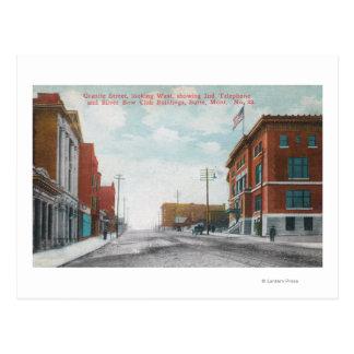 Western View of Granite StreetButte, MT Postcard