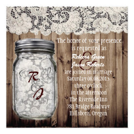 western vintage barnwood lace mason jar wedding custom announcement