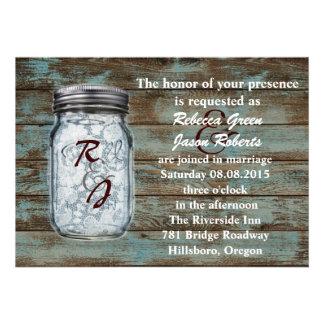 western vintage barnwood lace mason jar wedding invitation