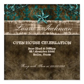 Western Vintage Birthday Photo Damask Horse Teal Card