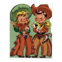 Western Vintage Birthday Postcard