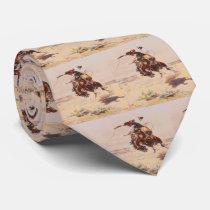 Western Vintage Bronc Rider Mens Necktie