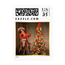 Western Vintage Cowgirl And Christmas Tree Postage
