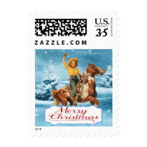 Western Vintage Cowgirl On Horse  In Winter Postage