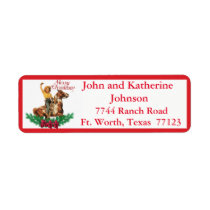 Western Vintage Cowgirl On Horse Merry Christmas 3 Label